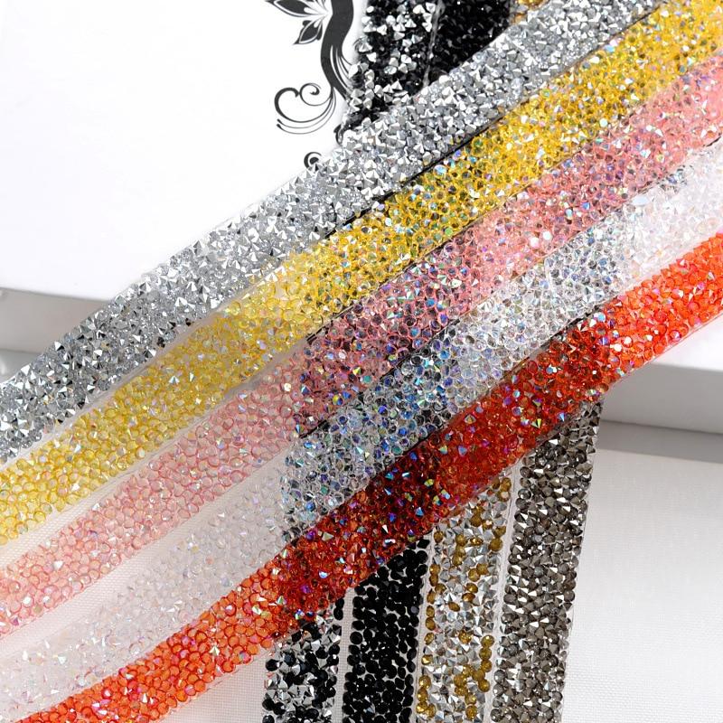 Bandas de diamantes de imitación de 15mm de 2 yardas, pegamento en caliente, aplicador de corte de cristal, cinta con diamantes de imitación, recorte de cadena DIY