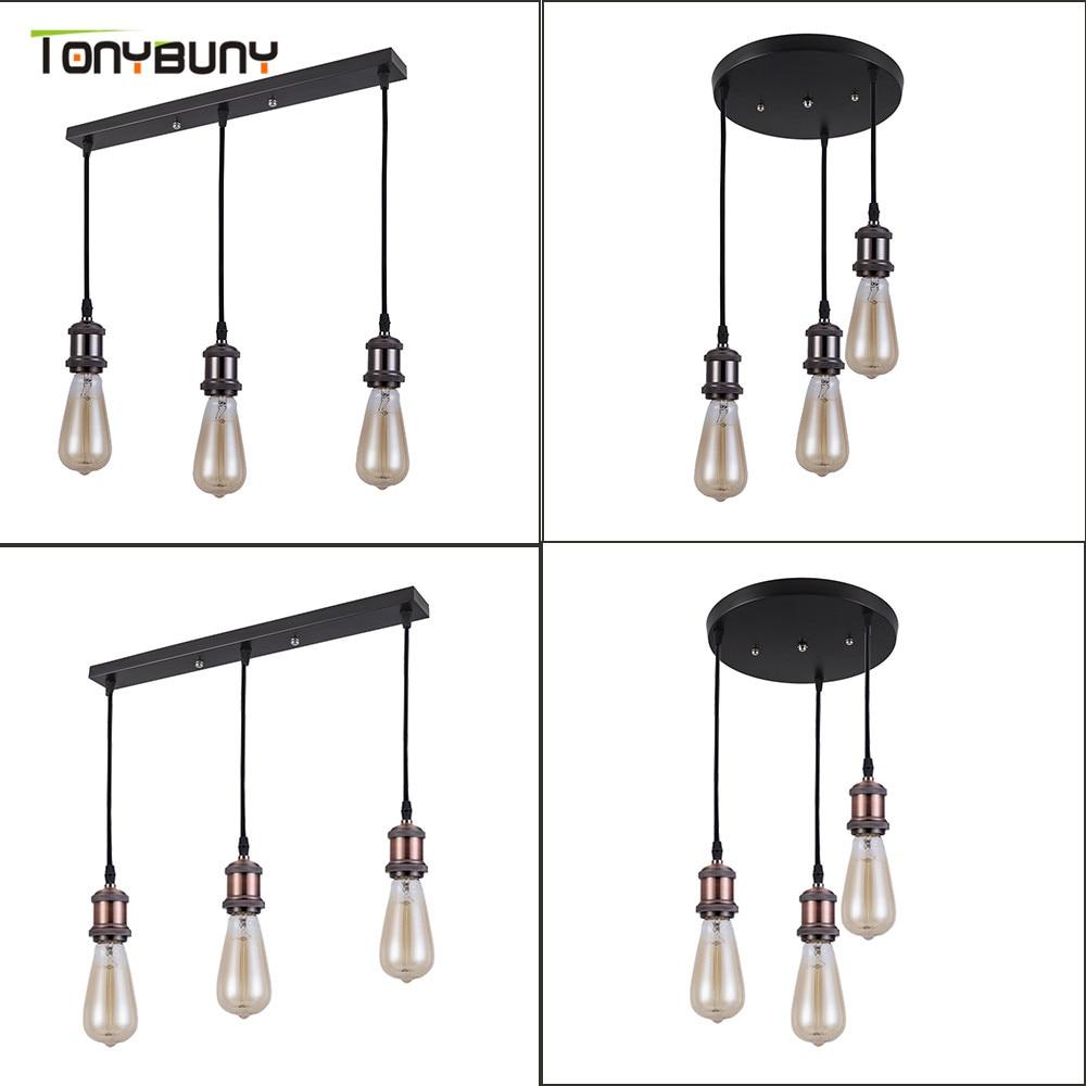 Ceiling Lamp E27 Bulb 3 heads retro industrial restaurant loft modern  vintage ceiling lights bar cafe dining room light