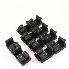 FHAWKEYEQ 5 Pcs Automotive Chrome Master Switch Adjustment Button For 99-05 VW Passat B5 Jetta MK4 Golf 3BD959857 1J4 959 857 D