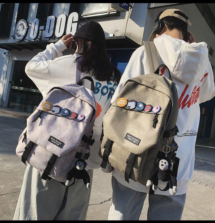 BB2065 المرأة كلية حقيبة ظهر الطالب المد العلامة التجارية الأدوات نمط الشارع شخصية حقيبة السفر