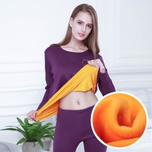 DINGDNSHOW Set Thermal Underwear Fleece Thicken Cotton Long Johns Women Intimated Shaped Breathable