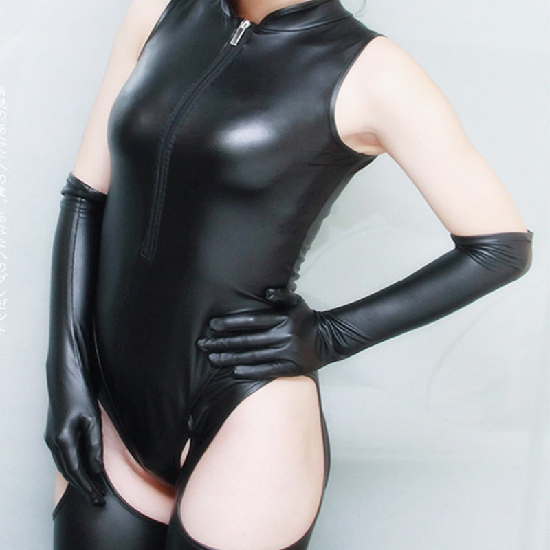 U-shaped patent leather combination, sexy, slim, black, Japanese student, tights + gloves + socks