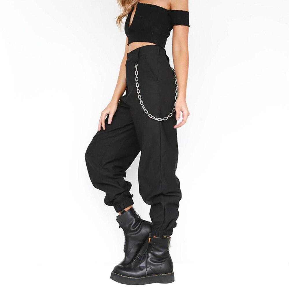Новинка 2020, уличная одежда, брюки карго, женские повседневные джоггеры, черные свободные женские брюки с высокой талией, женские брюки, коре...