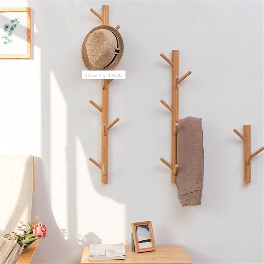 Percha decorativa ND171129 para sala de estar, percha decorativa para pared, perchero creativo de bambú para ropa, Perchero de madera sólida para pared