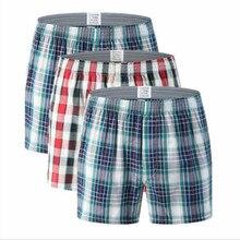 Men's Cotton shorts Plaid mid Waist Underwear plus Size pants coton men boxer homme boxers homem boxershort