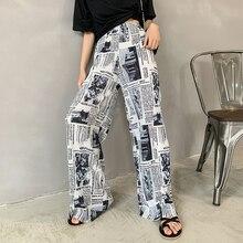 2020 Summer Newspaper Print Wide Leg Pants Women Elastic High Waist Pants Plus Size Trousers Women pantalones mujer