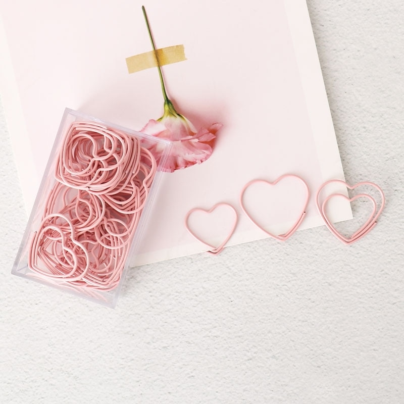 Pink Girl's Favorite Paper Clip planner Decoration Bookmark pink Peach Heart Paper Clip Paper Clips Decorative love Heart Clips