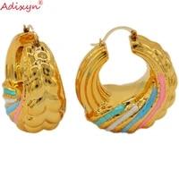 adixyn colorful color thick geometric circle hoop earrings nigeriaangolaafrican party accessories n10064