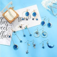 new fashion blue space universe moon star earrings for women gold color universe planet circle asymmetry long earrings