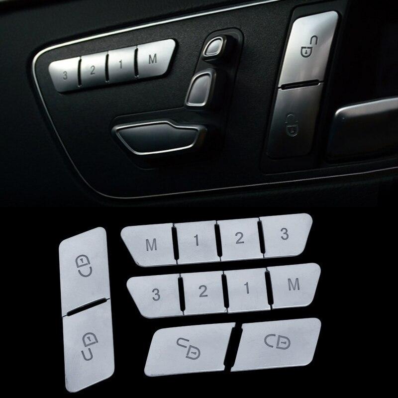 Car Door Memory Seat Lock Unlock Adjust Switch Button Cover Sticker for Mercedes Benz A B C E Class CLA GLA X156 GLE GL GLS ML