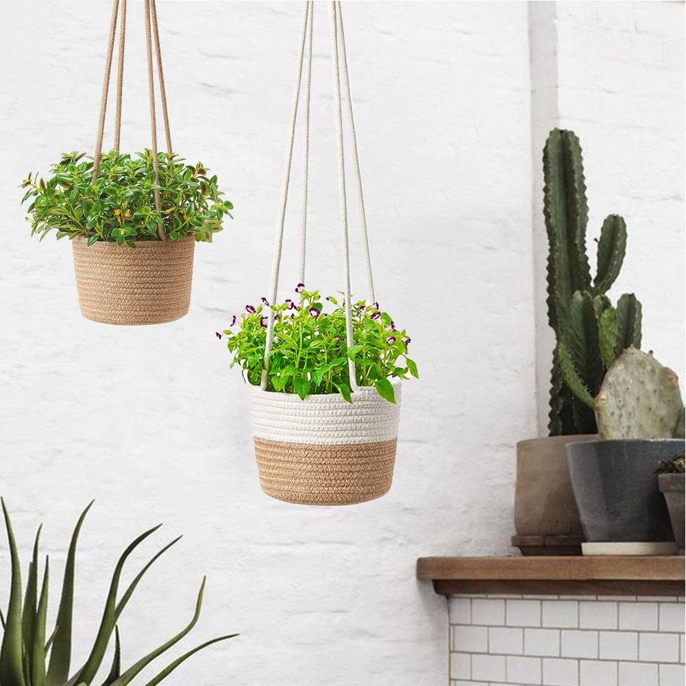 Handmade Cotton Rope Flower Pot Hanging Basket Knotted Rope Flowerpot Net Bag Horticultural Door Balcony Courtyard Garden Decor