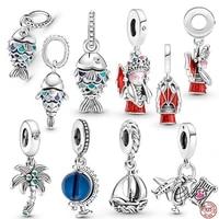 2021 new 925 sterling silver fishdoll airplane and globe charmbead fit original 3mm braceletbangle making fashion diy jewelry