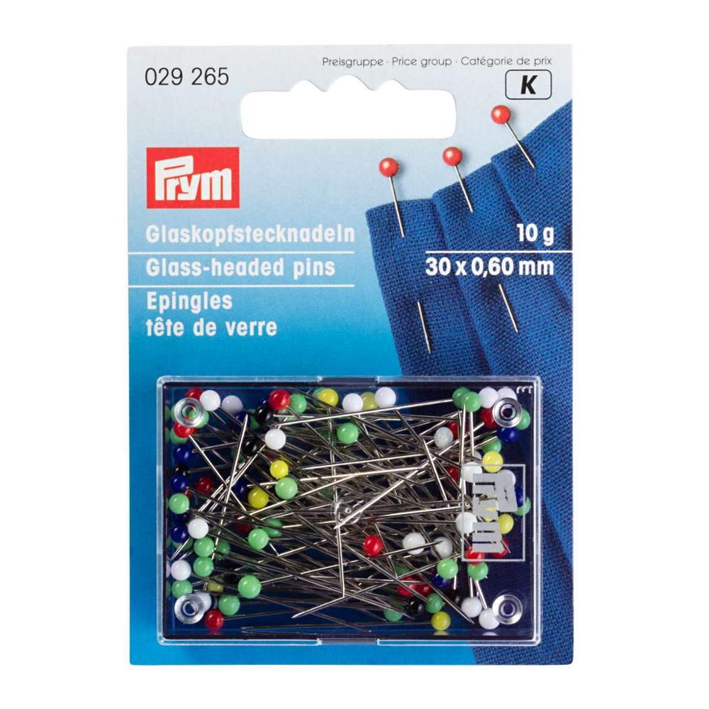 029625 alfileres de cabeza de vidrio de Alemania PRYM, 0,60x30mm, multicolor, 10g