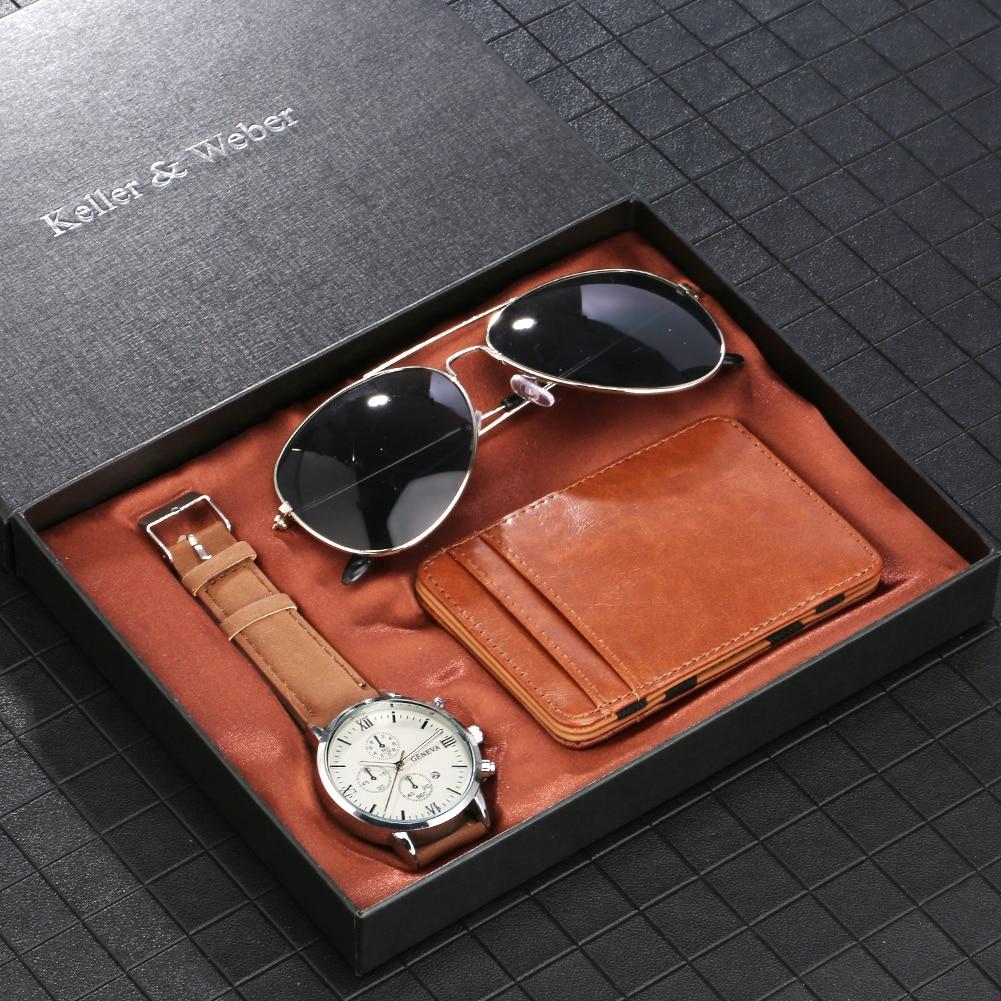 Коричневый мужской набор часов чехол для карт солнцезащитные очки подарочные наборы кварцевый Римский цифровой циферблат кожаный ремешок ...