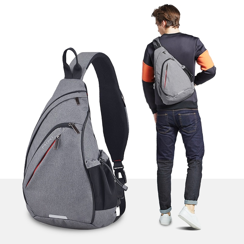 Mixi Men One Shoulder Backpack Women Sling Bag Crossbody USB Boys Cycling Sports Travel Versatile Fa