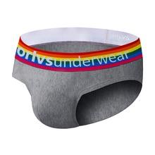 3 couleurs arc-en-ciel hommes sous-vêtements slips coton homme culotte Sexy Jockstrap respirant U convexe pour Gay haute qualité Gay Bikini