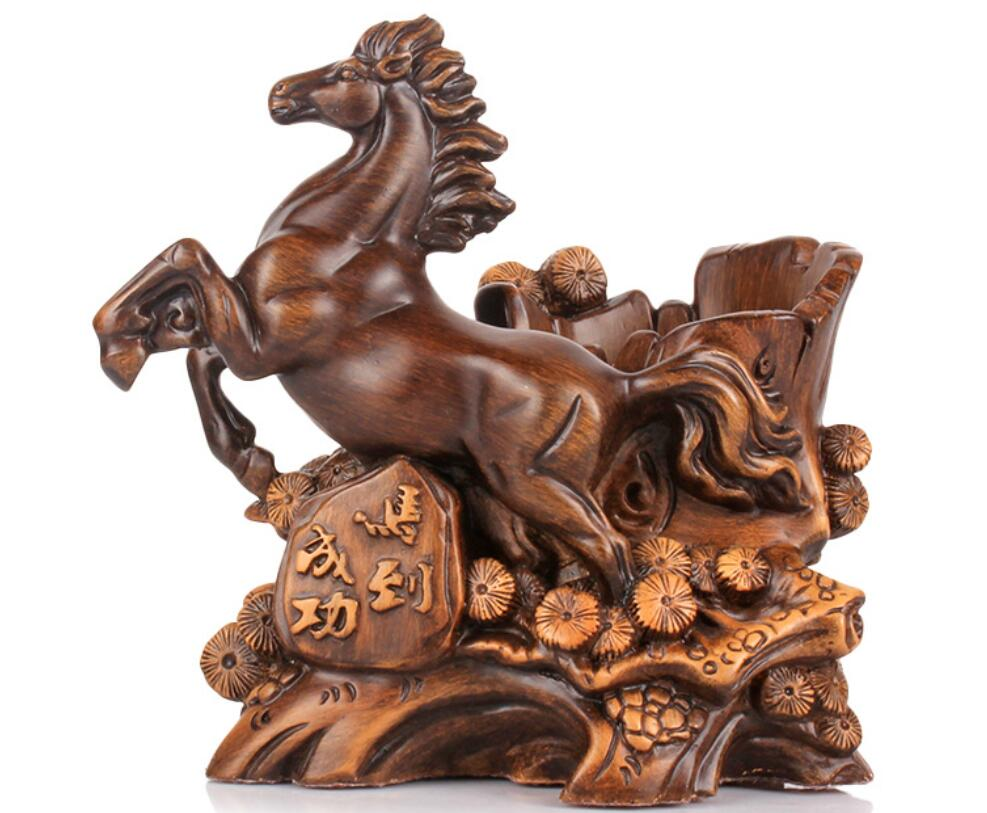 Exitoso contenedor de bolígrafos con caballo del zodiaco práctico Escritorio de Oficina Decoración regalos del Día del maestro