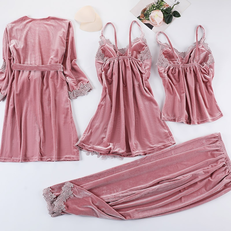 Four-piece Autumn winter new sexy pajamas women Gold velvet nightgown suit Sling lace long sleeve home clothing silk pajamas