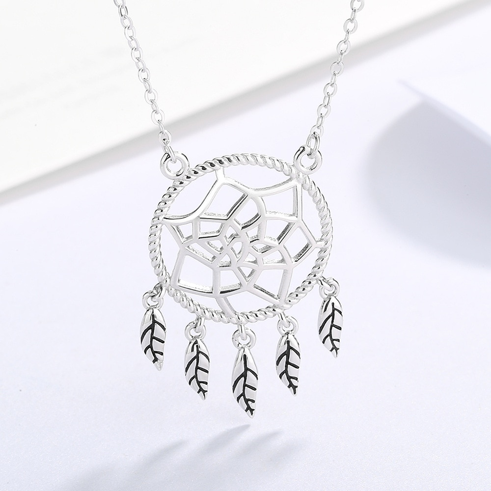 SODROV 925 Sterling Silver Luxury Dream Catcher Leaf Necklace for Women Jewelry