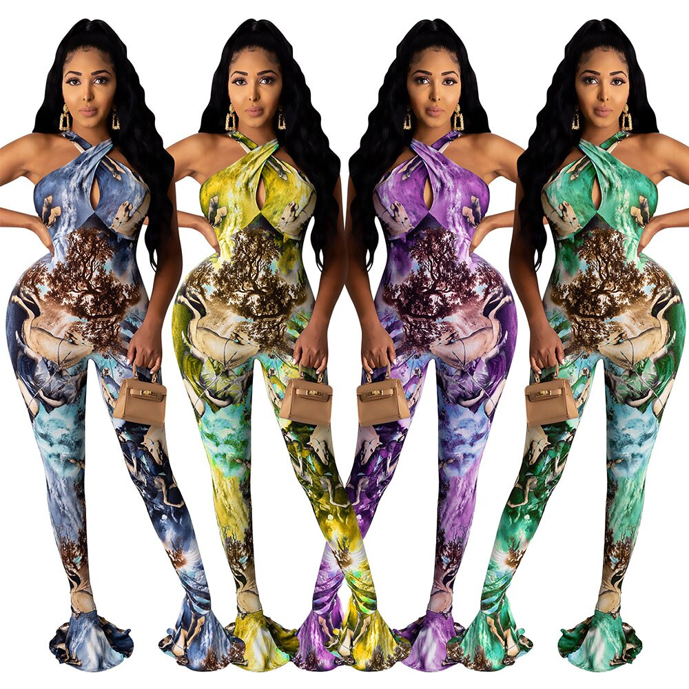 Women Sexy Club Tie Dye Printed Summer Jumpsuit Bodycon Skinny Sleeveless Elegant Rompers High Waist Slim Party Flares Jumpsuit