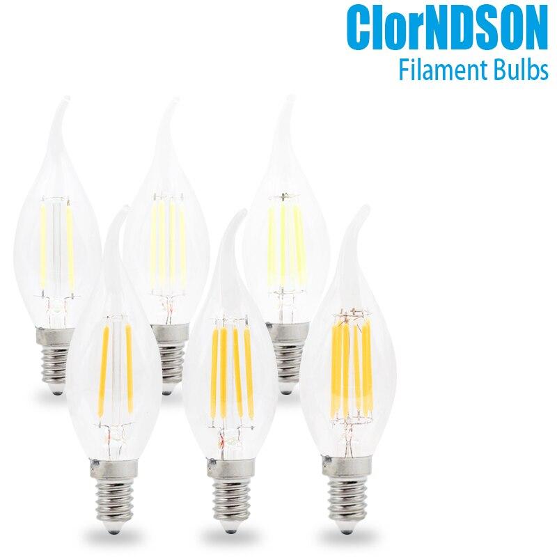 Приглушаемая Светодиодная свеча E14/E12, винтажная Ретро лампа с приглушением свечи накаливания для люстры, 2 Вт, 4 Вт, 6 Вт, 8 Вт, 110 В, 220 В