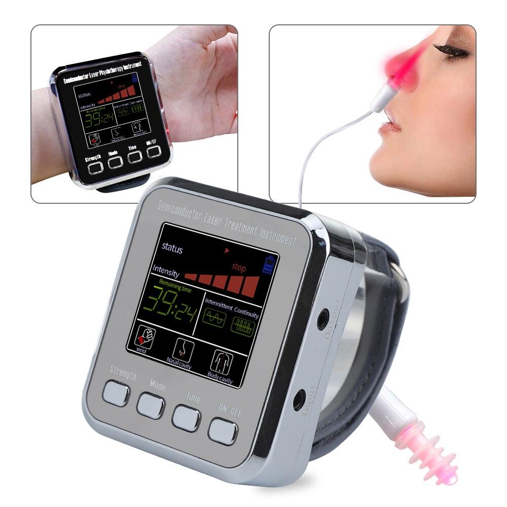 جديد 12 ثقوب أشباه الموصلات نانو أدوات معالجة ليزر ساعة معصم احتقان الأنف معدات العلاج الطبيعي العلاج بالليزر