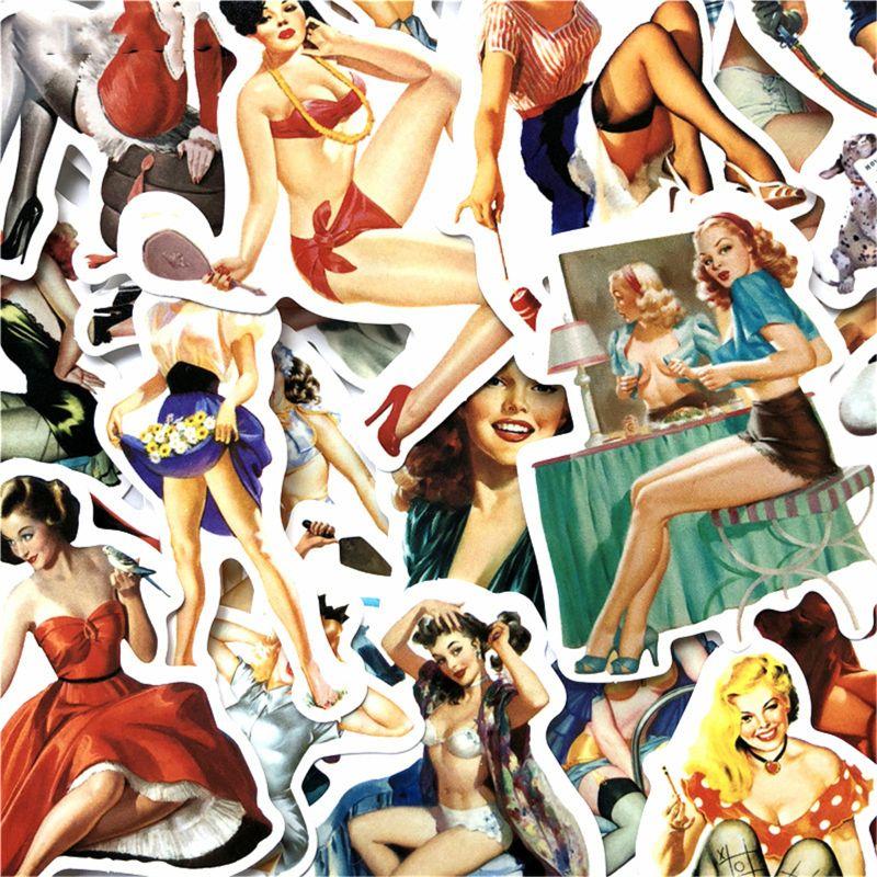 50 шт., наклейки для девочек в европейском и американском стиле