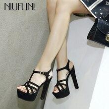 NIUFUNI 2020 femmes Sexy sandales à talons hauts mode t-strap plate-forme chaussures gladiateur sandales talon épais noir chaussures femme
