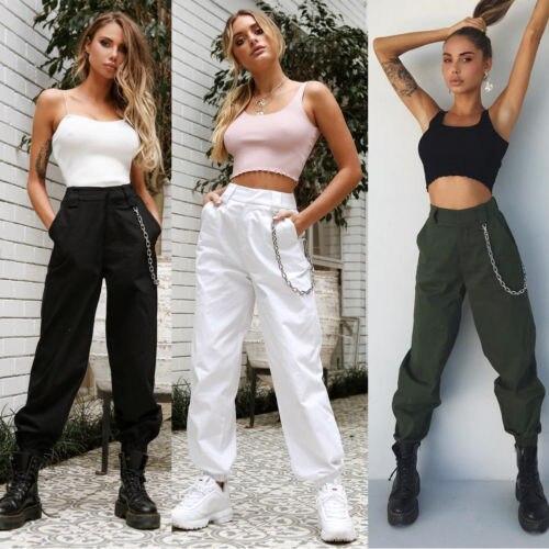Pantalones informales para mujer, Pantalones de deporte de baile para correr, pantalones holgados, pantalones de cintura alta para mujer, pantalones Cargo de combate Hip-Pop con cadena para mujer