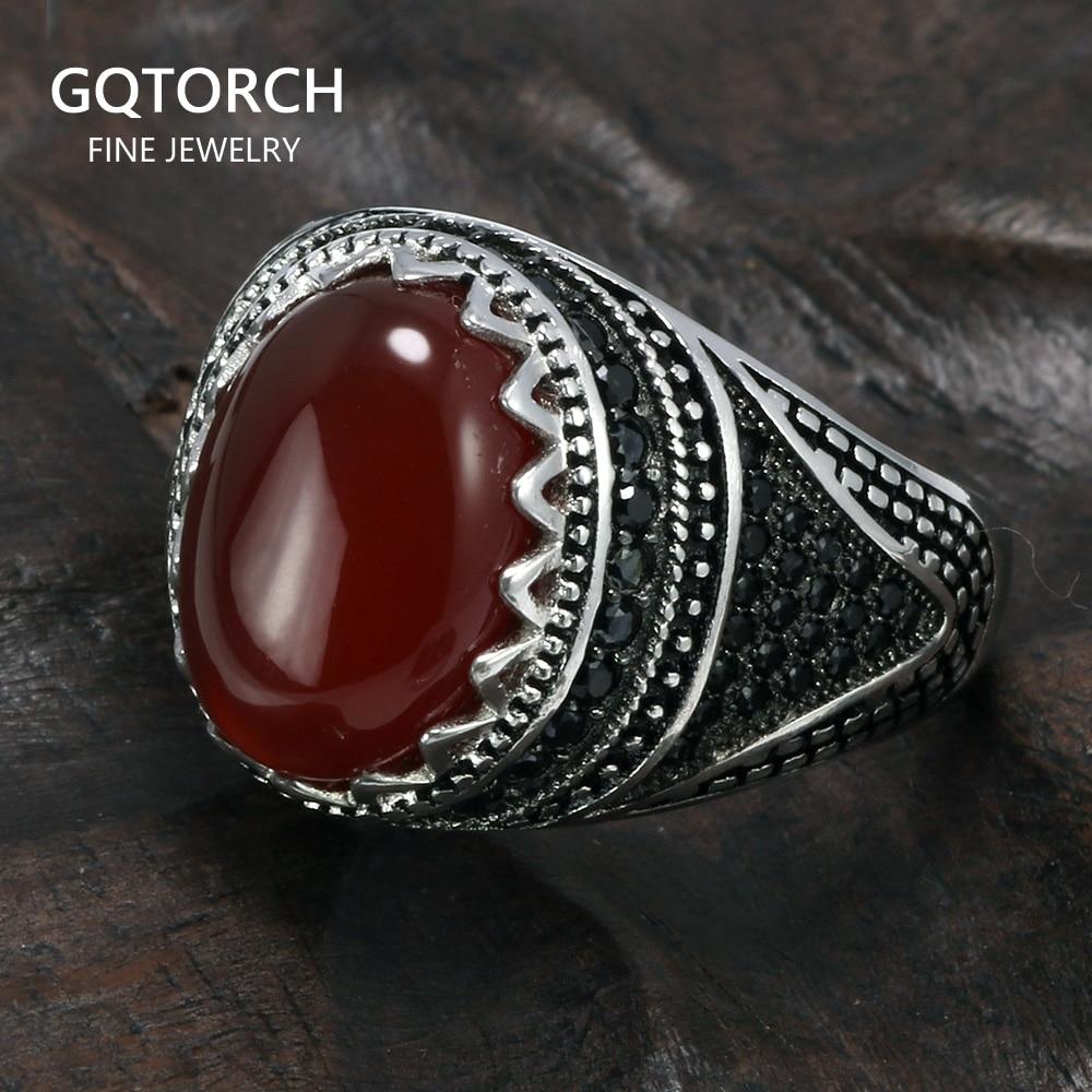 Anillos de plata 925 garantizado, corona Retro, Vintage turco, anillos para hombres con piedras naturales, negro, verde, rojo, anillo de Color