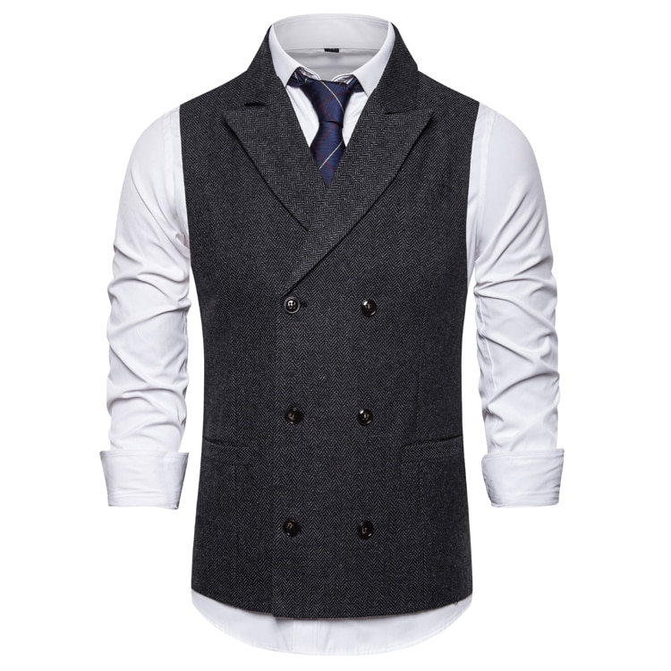 Chaleco de doble botonadura para hombre de traje sin mangas de chaleco...