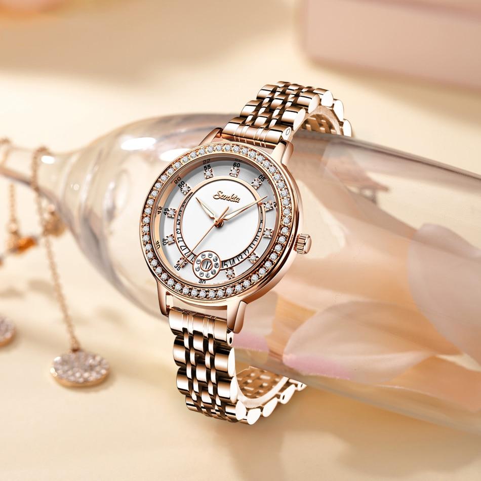SUNTKA Watches Women Top Brand Luxury Quartz Watch Women's Fashion Relojes Mujer Stainless Steel Ladies waterproof Wrist Watches enlarge