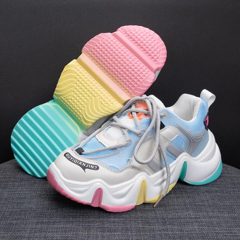 2021 Women Vulcanize Shoes High Heel Chunky Sneakers Women Height Platform Breathable Sports Walking