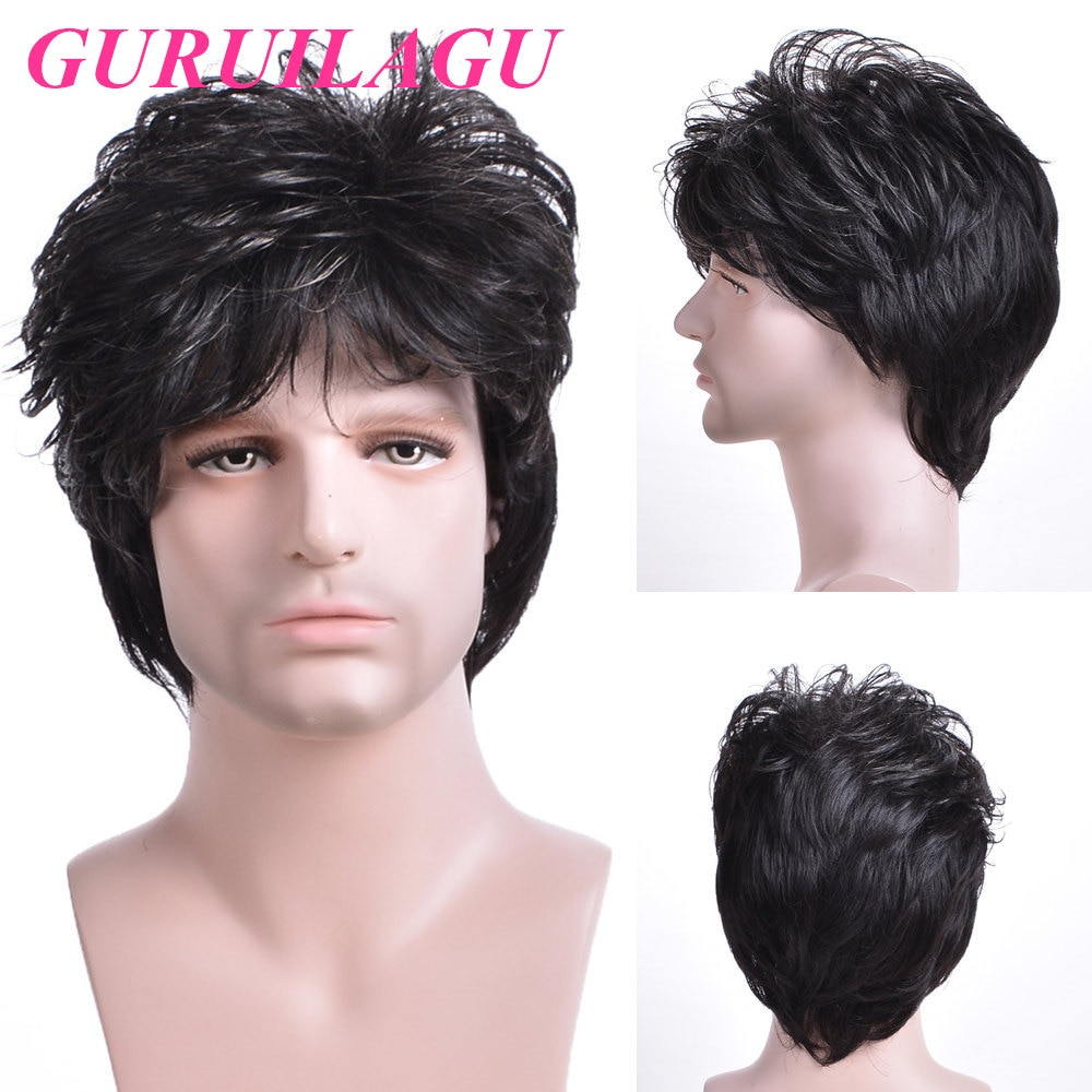 GURUILAGU Short Straight Wigs For Men Black Brown Color Wig Male Synthetic Hair Wig With Bangs  Natural Male Wig Heat Resistant