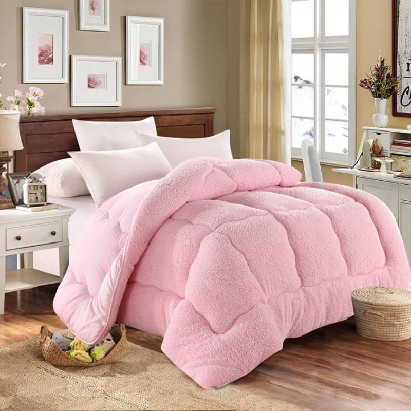 اضافية سميكة لينة نقية اللون أفخم لينة لحاف الكبار الفراش غطاء لحاف/غطاء لحاف المنزلية لحاف سميكة في الشتاء