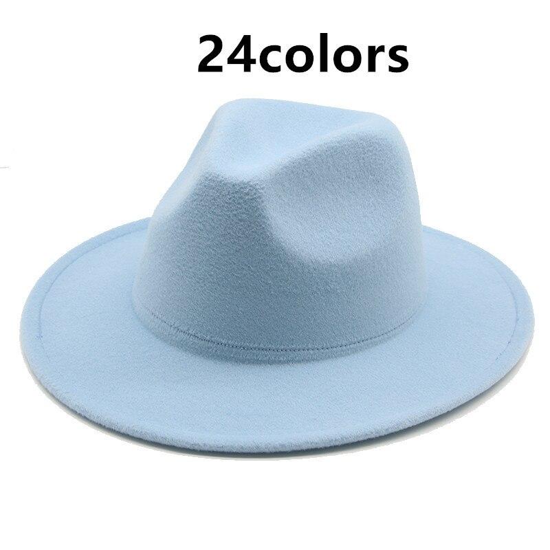 women winter hats solid multicolor wide brim felted hats women men formal vintage classic simple whi