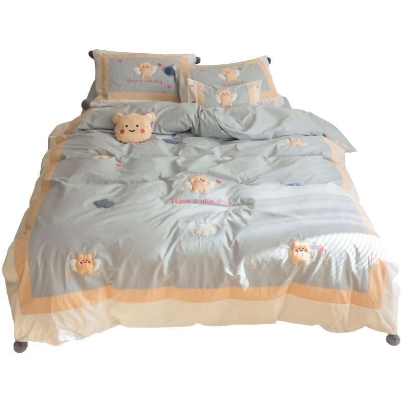 لطيف الكرتون الملصقة القماش المطرزة غسلها القطن أربع قطع القطن الخالص كل القطن 100 الدب غطاء لحاف غطاء سرير