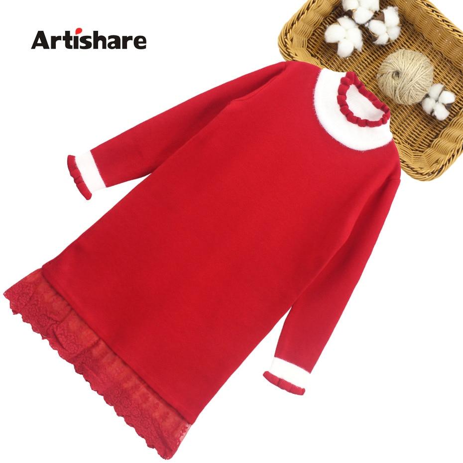 Vestido de Jersey para niña, vestido con flores de encaje para niña, vestidos de fiesta de retazos para niño, traje de otoño e invierno para niña 6 8 10 12 14
