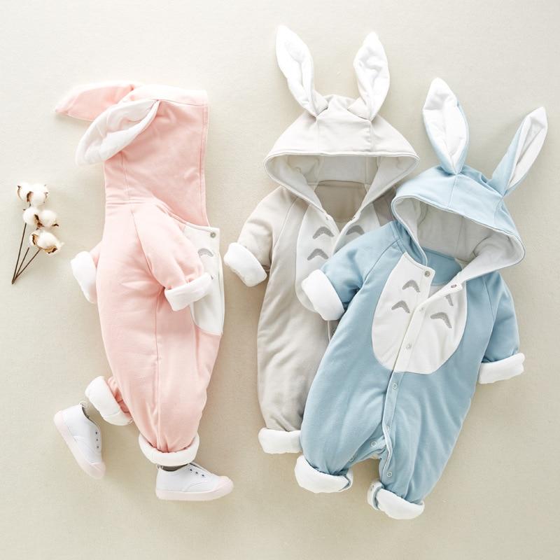 Mameluco de bebé otoño invierno con capucha, ropa para bebés, mono cálido de algodón para recién nacidos, Mono para niñas, ropa Unisex para bebés de 0 a 3 meses
