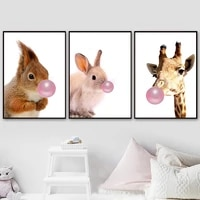 kawaii squirrel bunny giraffe bubble wall art canvas painting nordic posters and prints wall pictures kids room minimalist decor