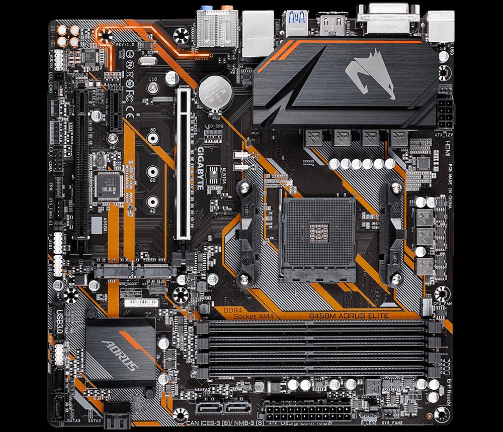 مستعملة ، جيجابايت GA B450M AORUS ELITE AMD B450 /4-ddr4 DIMM /M.2 /USB3.1 /Micro-ATX/جديد/Max-64G مزدوج القناة AM4 اللوحة الأم