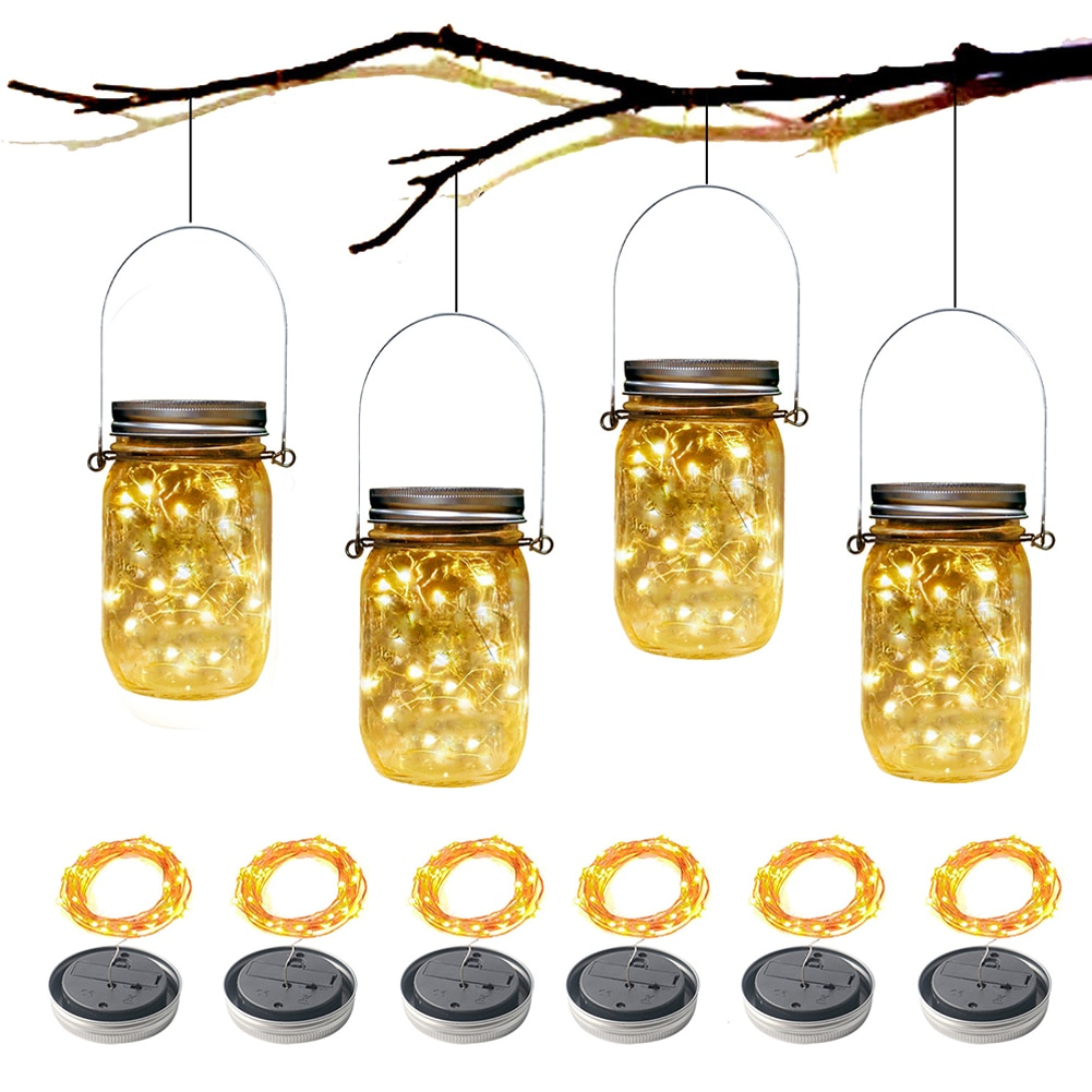 6PCS Solar Mason Jar Lid Light 2m String Lights Handle 20 LEDs Hanging Lantern Lamp Garden Bar Decoration Colorful Light Strips
