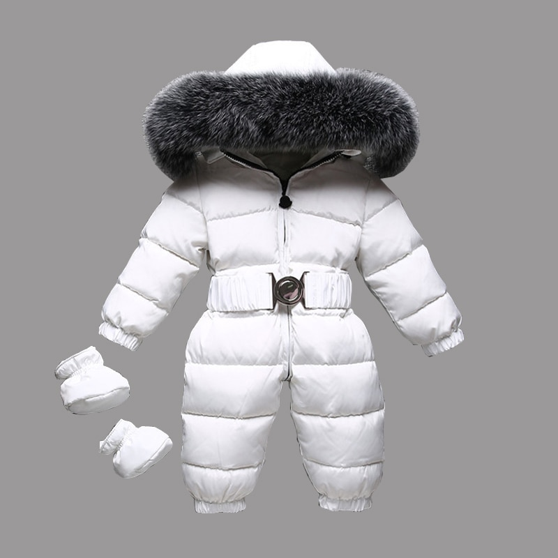 2021 Winter Warm Baby Rompers Down Girls Overalls Fur Hooded Boys Jumpsuits Outdoor Children Onesie Autumn Toddler Snow Clothes