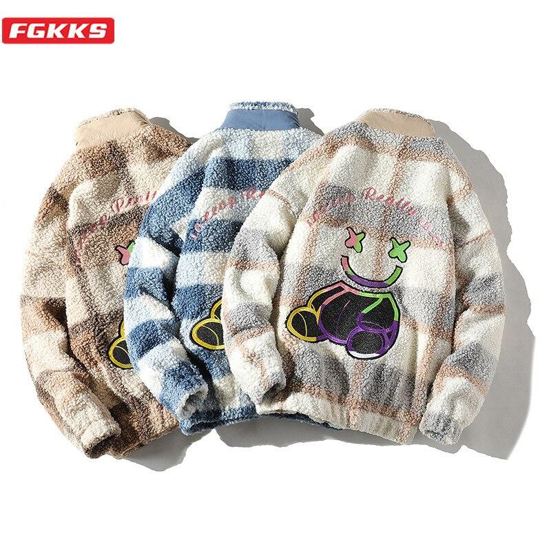FGKKS Korean Winter Mens Lamb Jackets Thicken Warm Parkas Male Fashion Printing Embroidery Brand Men Parka Coats