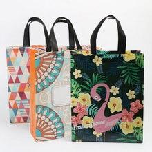 Fashion Flower Print Shopping Bag Tote Non-woven Fabric Eco Handbag Travel Grocery Folding Bags Prac
