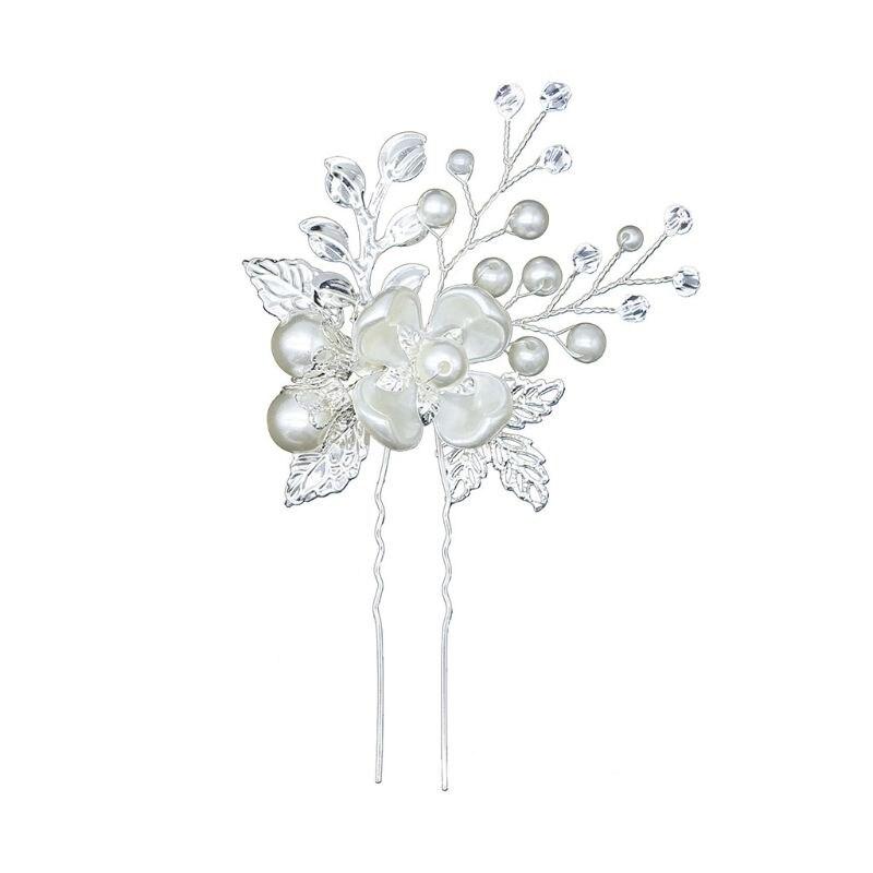 De las mujeres de la moda tocado deja trenzado a mano perlas en forma de U, Bun pines boda sombreros accesorios para el cabello M0XF