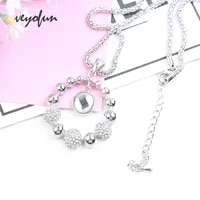 veyofun rhinestone spherical chain zinc alloy round necklaces for women fashion pendant jewelry gift wholesale