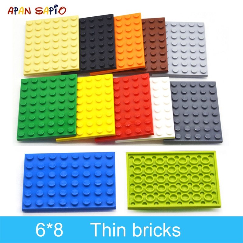 AliExpress - 10pcs DIY Building Blocks Thin Figures Bricks 6×8 Dots 12Color Educational Creative Size Compatible With 3036 Toys for Children