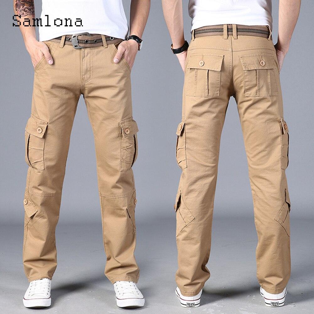 Plus Size Mens Cargo Pants Kpop Style 2021 Autumn Skinny Pants Fashion Zipper Pockets Trouser Outdoor Casual Pant Men Streetwear zipper fly pockets embellished plus size cargo pants
