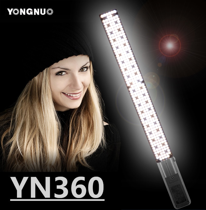Yongnuo yn360 handheld conduziu a luz de vídeo 3200k 5500k rgb colorido 39.5cm vara de gelo profissional foto led vara (apenas luz led)